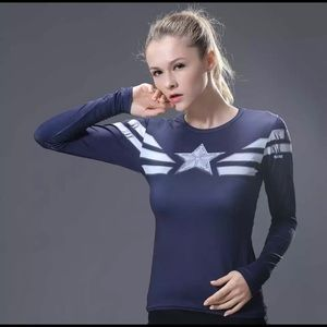 Tops - Captain America Moisture Wicking Workout Shirt